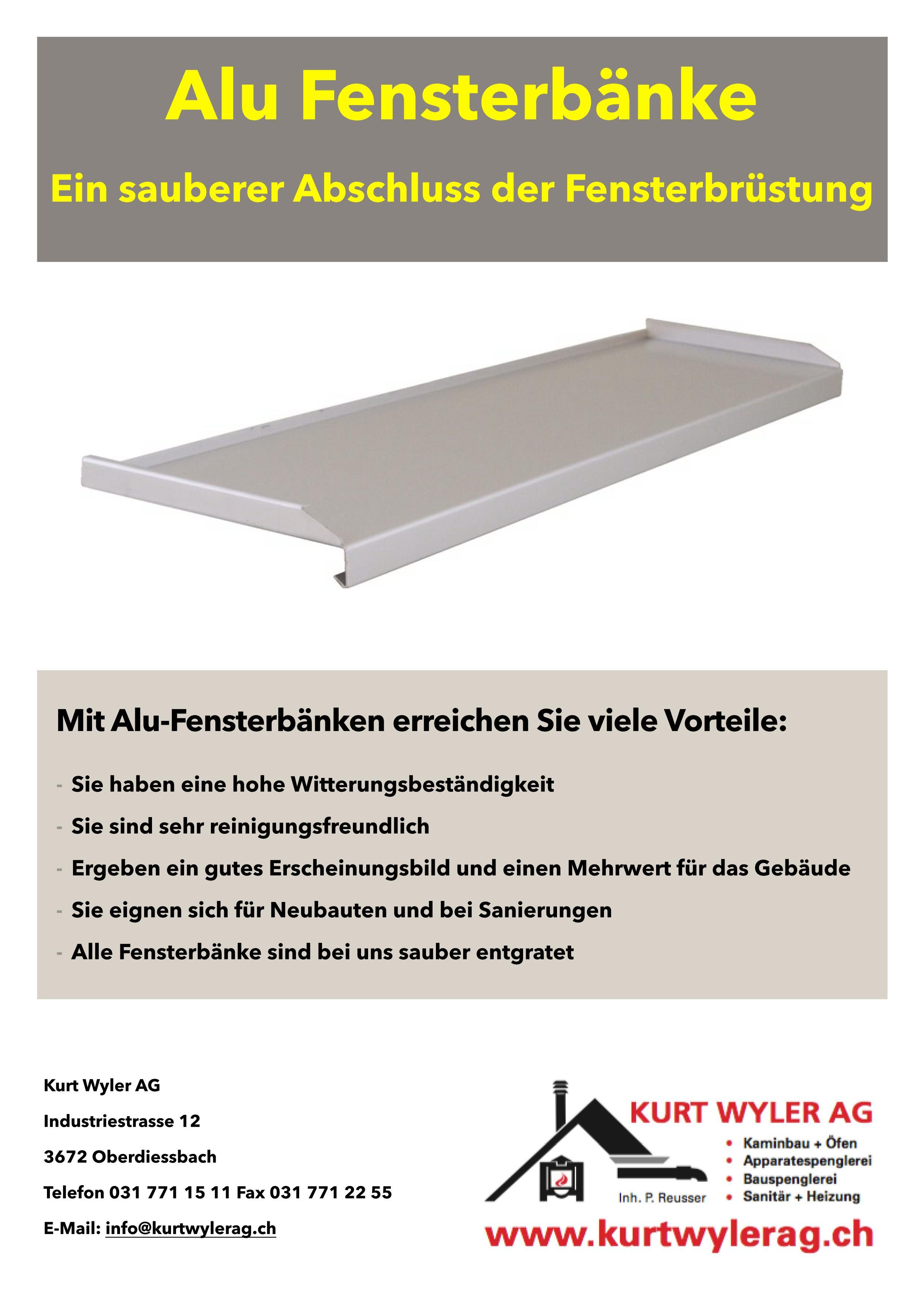 Fensterbänke aus Aluminium   Kurt Wyler AG - Kaminbau & Öfen ...
